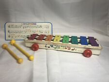 Vintage 1964 Fisher Price Wooden PULL-A-TUNE Xylophone Pull Toy #870