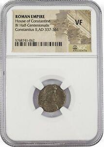 Constantius II Gladiator BI Half Centenionalis NGC(VF) Horseman~AD-337-361