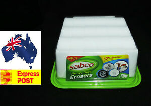FREE EXPRESS POST SABCO HEAVY DUTY ERASER PADS MAGIC ERASERS 6 PACK LASTS LONGER
