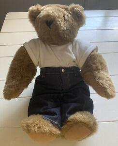 "Vermont Teddy Bear Plush Mom Tattoo 17"" Stuffed Animal Jeans USA Made"