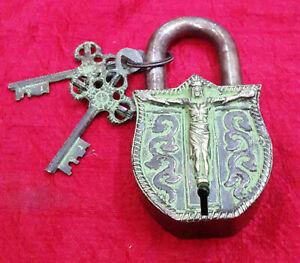 Brass Padlock Jesus Christ Brass Religion Handmade Antique Design Door Any Lock