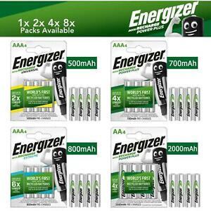 Energizer AA AAA Rechargeable Batteries 500 700 800 2000 mAh Pre Charged NEW