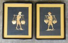 "Vintage Set of 2 Rice Straw Pictures Framed / Glass and Mats 11 x 14"" Indonesia"
