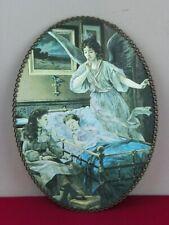 "Vintage Flue Cover Children Angel Book Reading Sleep Iridescent 8"" x 11"""