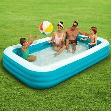 Rectangular Inflatable Family Kids Swimming Pool 10-Ft Play Day Fun Outdoor