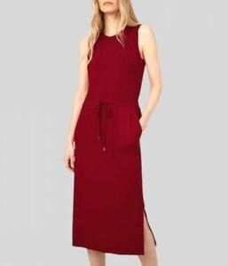 Warehouse Womens Ladies Red Sleeveless Utility Pocket Jersey Midi Dress 6-18