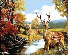 5D DIY Diamond Painting Deer Partial Cover, Round Tile, size app. 50x40cm