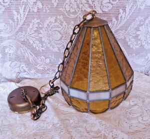 Vintage Amber & Slag Stained Glass Light Fixture Vintage Chandelier ~ FREE SHIP~