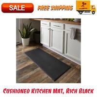 "Cushioned Kitchen Mat, Rich Black, 20"" x 45"", Home Decor, 100% Vinyl, Rugs"