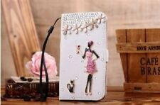 S*ACT New White bling kickstand diary leather cover flip card case wallet