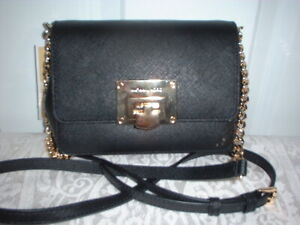 NWT Michael Kors Tina Black Leather Small Clutch Crossbody Handbag