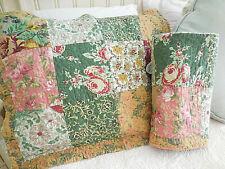 ❤️ 2 quilted patchwork pink rosesspring floral standard shams cottage CHIC ❤️