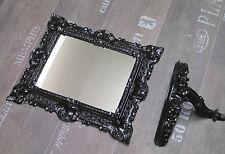Set Black Wall Mirror + Mirror Table Console Baroque Antique 44x38 Mirror New