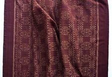 Classic Ikat Cotton Maroon Artisan Dyed & Woven Fabric Hand-Crafted Indian