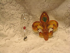 Waterford Lead Crystal Amber Fleur De Lys Annual Christmas 2012 Ornament #160556