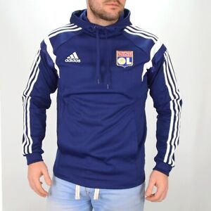 Adidas Herren Kapuzen Pullover Sport Hoodie Fußball Sweatshirt Sweater blau/weiß