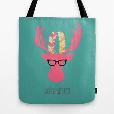 "Women's Tote Bag in Aqua Blue - ""Deer Hipster"" - 16"" x 16"""