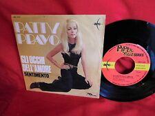 PATTY PRAVO Gli occhi dell'amore 45rpm 7' + PS 1968 MINT- Retro con Stereo 8