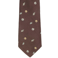 PAUL STUART Sea Shell Cruise Resort Ocean Nautical Brown Mens Silk Neck Tie