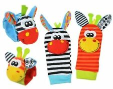 Adorable Zoo Animal Baby Wrist Rattle & Foot Finder Socks, 4 Piece Pack