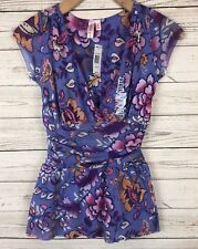 Sweet Pea Sz Small Floral Mesh Ruched Faux Wrap Peplum Blouse Top k6