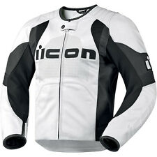 Icon Overlord Leather Motorcycle Jacket White Black Perforated Chest XLarge XL