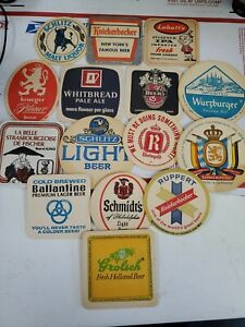 15 lot Vintage Beer Bar paper cardboard Coasters mix Grolsch schlitz labatts (A2