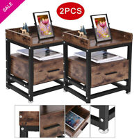 Set of 2 Tall End Table Sofa Chair Side Accent Stand Coffee Nightstand w/ Drawer
