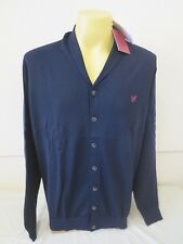LYLE & SCOTT HERITAGE SHAWL COLLAR CARD NAVY MADE IN ITALY XL 100% EXTRAFINE 47""