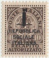 1944 ITALIA RSI RECAPITO AUTORIZZATO CENT10 N°3A OTTIMA CENTRATURA MNH** G.OLIVA