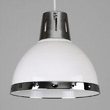 Modern Industrial Style Gloss White  Chrome Ceiling Pendant Light Shade Lamp