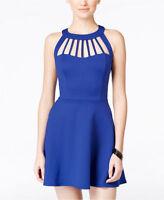 NWT $59 Trixxi Blue Solid Sleeveless Cutout Dress Size: 5