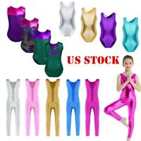 US Girls Sequins Ballet Dance Leotard Kids Gymnastics Dancewear Jumpsuit Unitard