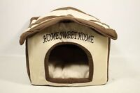 Best Pet Supplies Home Sweet Home Bed, Beige with Brown Strips - Preowned
