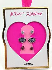 NWT Betsey Johnson Rhinestone Mystic Eye, Heart and Stud Set Pierced Free Ship