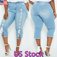 Plus Size Women Slim High Waist Skinny Denim Lace Up Capri Trousers Jeans Pants