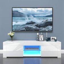 TV Lowboard Fernsehtisch TV Schrank 130cm Holz Hochglanz Weiß Unterschrank LED