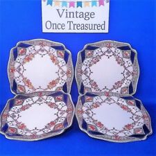 Newport Pottery Stafford 4 x Square Plates - Vintage Imari Cobalt & Rust 1930s