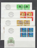 Switzerland Mi 1169/1186, 1980  issues, 5 cplt sets in blocks of 4 on 14 FDCs
