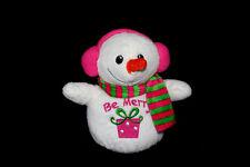 "Dandee Be Merry Snowman Pink Gift Earmuffs Girl Snowgirl Christmas Plush Toy 7"""