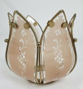 Lotus Flower Touch Lamp Replacement Shade Gold Frame Light Pink Vintage