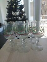 Vintage Set of 6 Holly Berry Clear Glass Christmas Wine Tea Mugs Cups