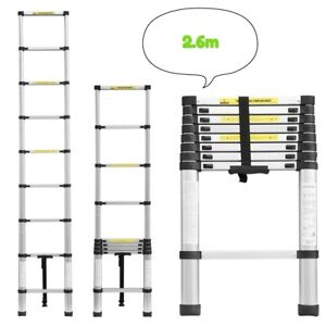 Extendable Telescopic Ladder DIY Tool 150KG Max Load Loft Aluminium Thick 2.6M