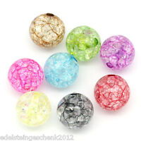 GS: 50 Mix Klar Acryl Krackle Spacer Perlen Beads Basteln 12mm