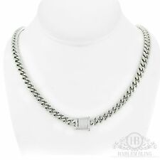 "Men's Cuban Miami Link Chain 14k White Gold Over Stainless Steel 30"" 8mm"