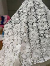 130cm Ancho 3d Blanco Encordado De Boda Tela Encaje Flores Bordadas 0.9m