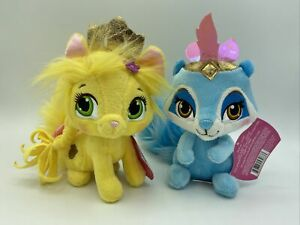 "Lot of 2 Disney Princess Palace Pets Plush  6""  Summer Kitty & Windflower Racoon"