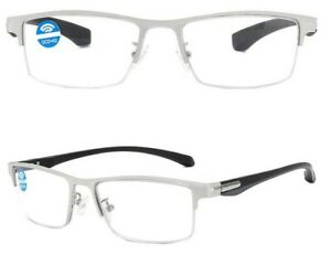 Blue Light Blocking Reading Glasses Designer Silver High Stress Frame