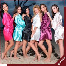 Hot New Bridesmaid plain short Kimono Robe Wedding Women Satin Silk bride robe**