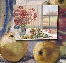 Natura morta con Fiori e frutta. Originale antico Dipinto a olio (e).